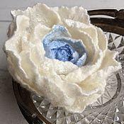 Украшения handmade. Livemaster - original item White rose brooch made of wool felted. Handmade.