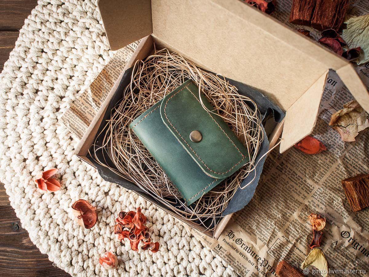 Маленький женский кожаный кошелек -TRINY- цвет Зелено-рыжий, Кошельки, Тула,  Фото №1