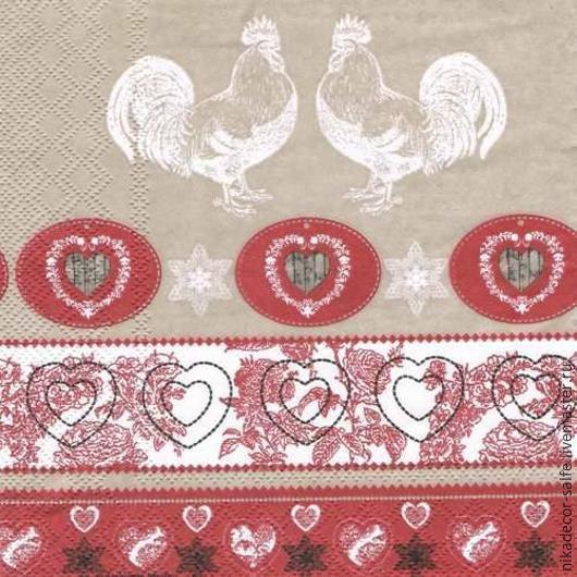 Декупаж и роспись ручной работы. Ярмарка Мастеров - ручная работа. Купить Куриный орнамент красный (13308180) 33х33 салфетка для декупажа. Handmade.