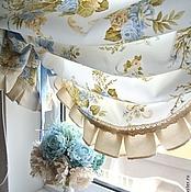 Для дома и интерьера handmade. Livemaster - original item Curtains with blue English roses Shabby Chic style. Handmade.