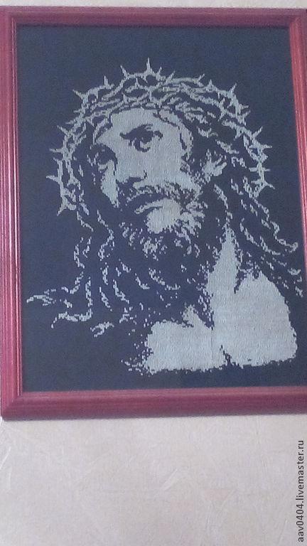 Иконы ручной работы. Ярмарка Мастеров - ручная работа. Купить Иисус, икона. Handmade. Чёрно-белый, Вышивка крестом, икона