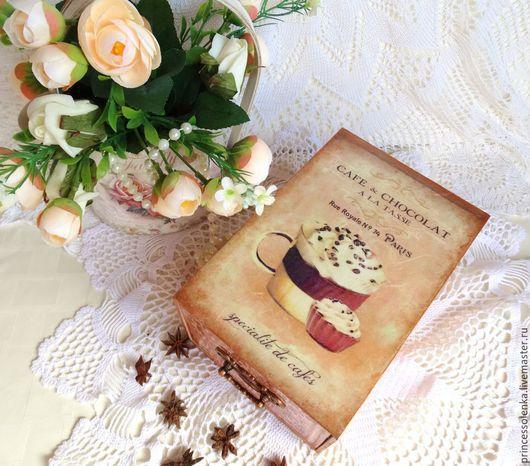 """Корзины, коробы ручной работы. Ярмарка Мастеров - ручная работа. Купить """" Cafe & Chocolat"""" Короб для чая, кофе, сладостей, специй, винтаж. Handmade."""