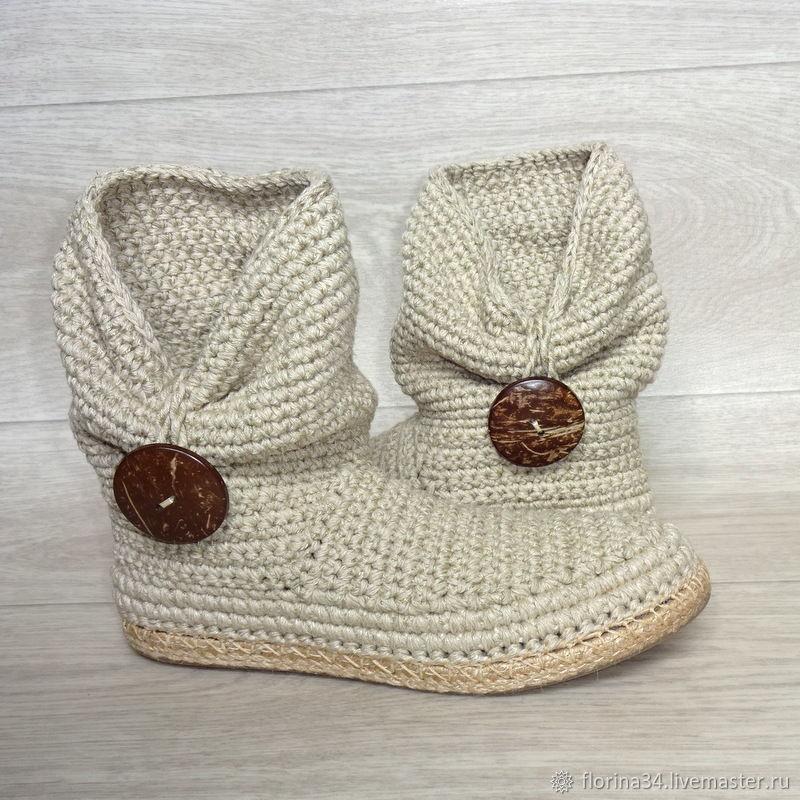 Обувь ручной работы. Ярмарка Мастеров - ручная работа. Купить Сапожки вязаные с пуговицей, лен-хлопок. Handmade. Ботильоны