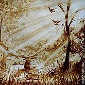 """Картины и панно ручной работы. Ярмарка Мастеров - ручная работа Кофейный рисунок """"Утро в лесу"""". Handmade."""