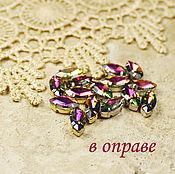 Материалы для творчества handmade. Livemaster - original item Glass rhinestone 10h5 mm rainbow in gold and silver rims. Handmade.