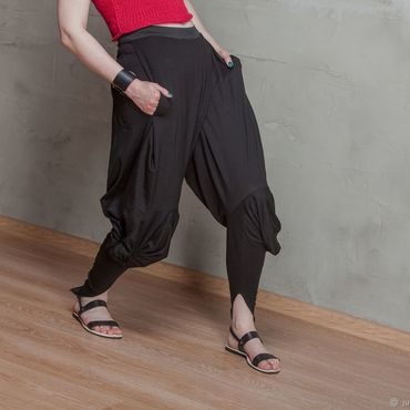 Одежда ручной работы. Ярмарка Мастеров - ручная работа С_046 Шитые брюки-галифе Crazy Legs, цвет черный. Handmade.