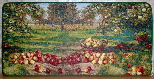 """Кухня ручной работы. Ярмарка Мастеров - ручная работа. Купить Разделочная доска панно """"Яблочный урожай"""". Handmade. Разноцветный"""