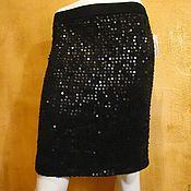Одежда manualidades. Livemaster - hecho a mano Falda con lentejuelas de punto negro que se acuesta con una banda elástica. Handmade.