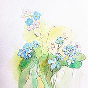 Картины и панно handmade. Livemaster - original item Forget-me-nots Painting Watercolor 11х15cm. Handmade.