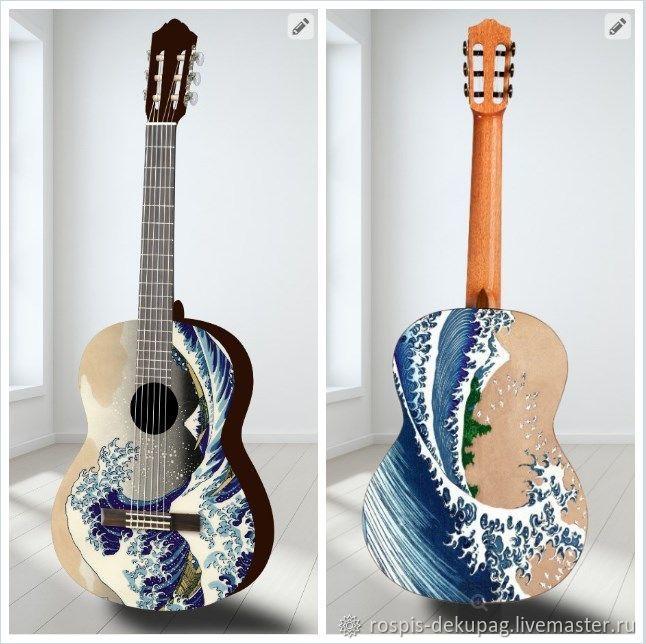 Струнные инструменты ручной работы. Ярмарка Мастеров - ручная работа. Купить Гитара+ фотопринт на ЗАКАЗ. Handmade. Море, картина, волна