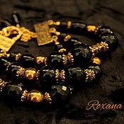 Украшения handmade. Livemaster - original item Reine noire - multi-row bracelet large black onyx agate. Handmade.