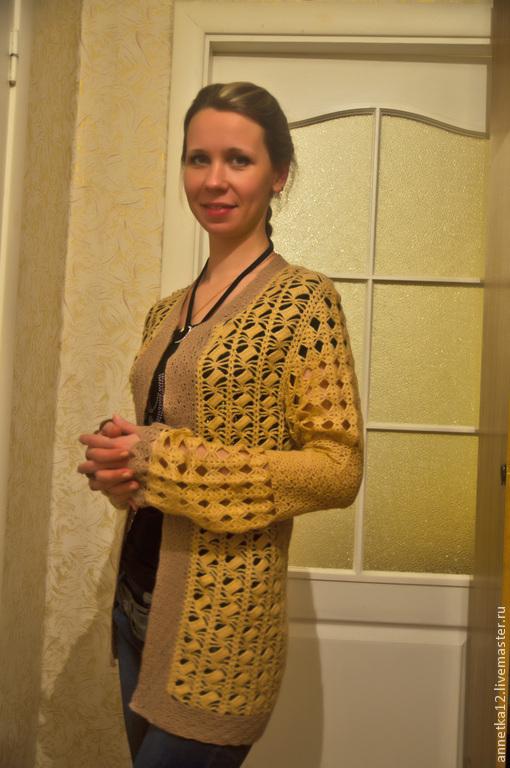 Кофты и свитера ручной работы. Ярмарка Мастеров - ручная работа. Купить Кофта ручной работы. Handmade. Бежевый, кардиган, мохер
