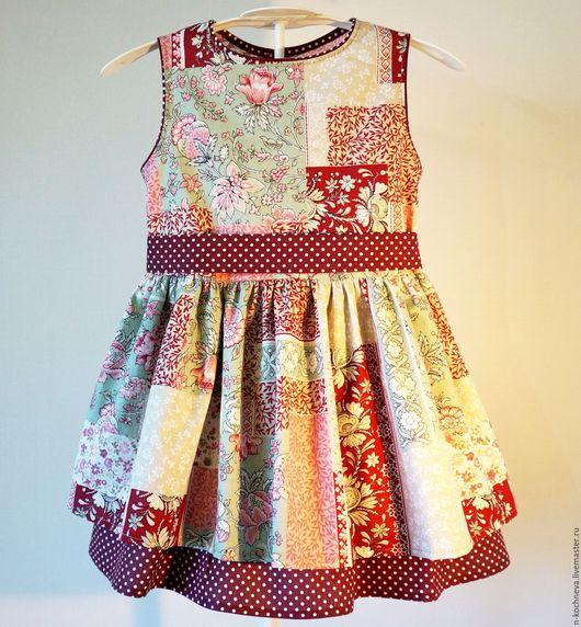 Одежда для девочек, ручной работы. Ярмарка Мастеров - ручная работа. Купить Детское платье с бордовым горошком. Handmade. Бордовый