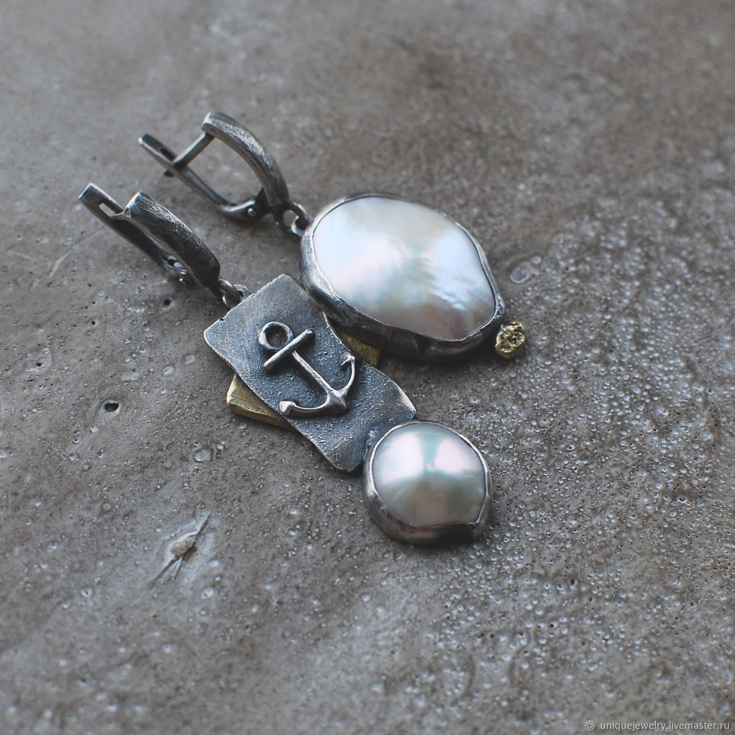 Pearl earrings, silver and brass, Earrings, Moscow,  Фото №1