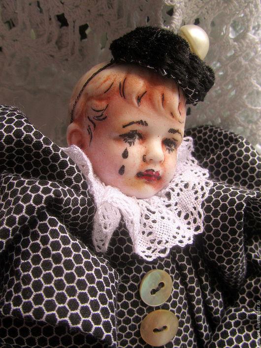 Коллекционные куклы ручной работы. Ярмарка Мастеров - ручная работа. Купить Пьеро Нуар. Handmade. Чёрно-белый, винтаж, бархат