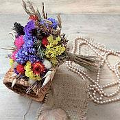 Букеты ручной работы. Ярмарка Мастеров - ручная работа Разноцветный мини-букет из сухоцветов на день влюбленных. Handmade.