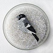 Украшения ручной работы. Ярмарка Мастеров - ручная работа Серый снегирь, птица брошь. Handmade.