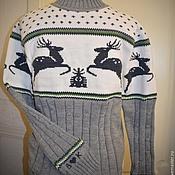 Одежда ручной работы. Ярмарка Мастеров - ручная работа Именной винтажный свитер с оленями. Handmade.