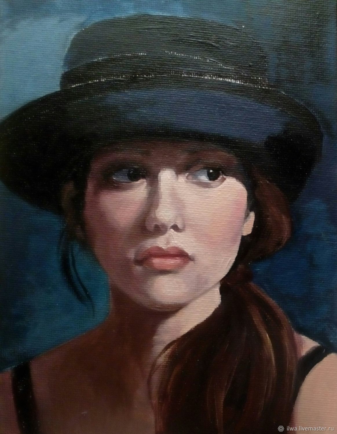 Portraits handmade. Livemaster - handmade. Buy The girl in the hat.Oil, copy, a painting gift, canvas