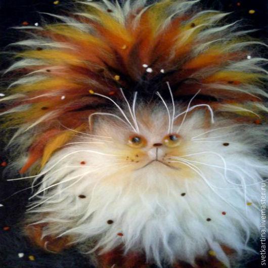 """Животные ручной работы. Ярмарка Мастеров - ручная работа. Купить Картина шерстью """"Красавчик котяра"""". Handmade. Коричневый, кот в подарок"""