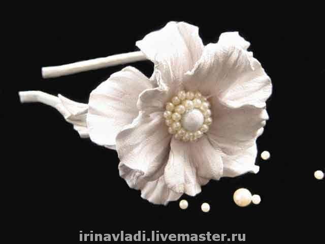 цветы из кожи, кожаные цветы, кожаные изделия,изделия из кожи, брошь заколка белый цветок, белый цветок из кожи, ободок с цветами из кожи, обруч для волос с цветком, кожаный ободок , аксессуары для во