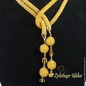 Украшения handmade. Livemaster - original item Lariat yellow Gold beaded decoration. Handmade.