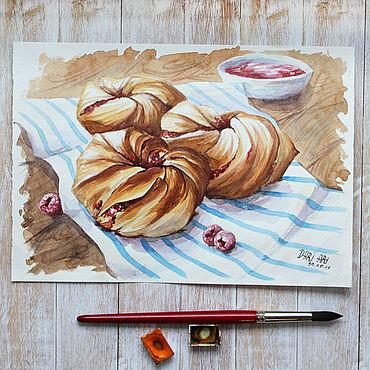 Картины и панно ручной работы. Ярмарка Мастеров - ручная работа Слойки с малиной. Handmade.