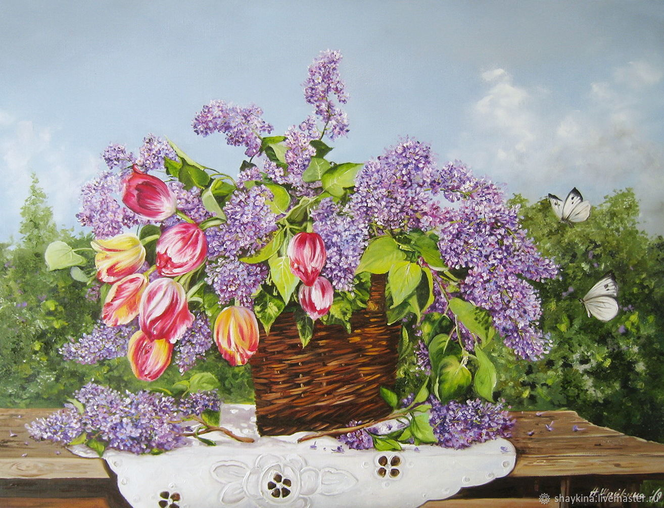 Картина маслом Солнечный букет в саду. Сирень и тюльпаны, Картины, Сыктывкар,  Фото №1