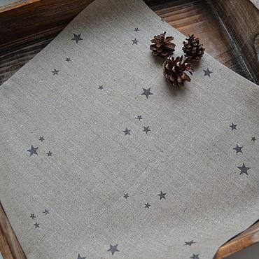 Для дома и интерьера ручной работы. Ярмарка Мастеров - ручная работа Льняная салфетка серая для новогодней сервировки стола. Handmade.