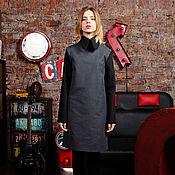 Одежда handmade. Livemaster - original item Dress gray-black cotton straight short, detachable collar. Handmade.