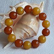 Bead bracelet handmade. Livemaster - original item Bracelet from Baltic amber-Summer mood. Handmade.