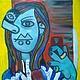 Символизм ручной работы. Selfie Картина маслом на холсте в стиле Пикассо. Yotsu. Интернет-магазин Ярмарка Мастеров. Сэлфи, телефон
