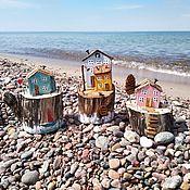 Статуэтки ручной работы. Ярмарка Мастеров - ручная работа Бирюзовый домик на пеньке , домики дрифтвуд. Handmade.