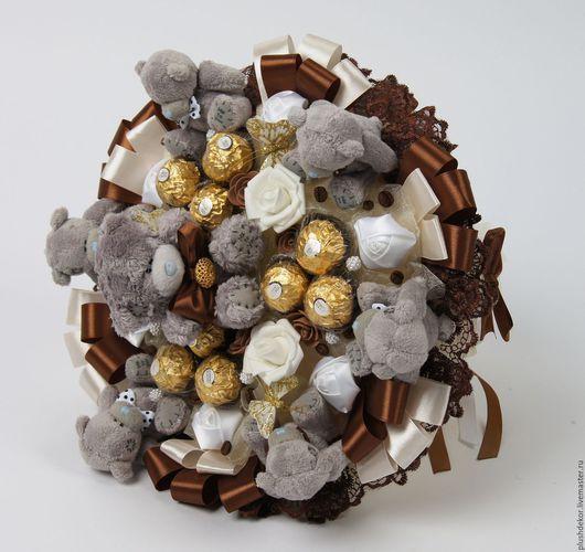 """Букеты ручной работы. Ярмарка Мастеров - ручная работа. Купить Букет из игрушек """"Шоколадные Тедди"""". Handmade. Комбинированный, букет из игрушек"""