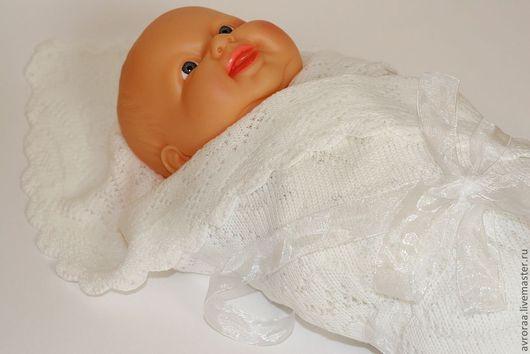 Плед  вязаный детский. Ажур сердечки. Машинная вязка. Белого цвета. Оберег. Одеялко.