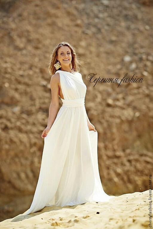 Платья ручной работы. Ярмарка Мастеров - ручная работа. Купить Платье трансформер. Handmade. Белый, красивые платья, платье в пол