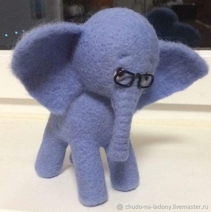 Застенчивый слонёнок, Войлочная игрушка, Москва,  Фото №1
