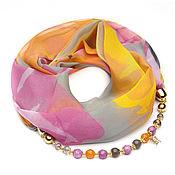Аксессуары handmade. Livemaster - original item Chiffon shawl with beads (multicolor). Handmade.
