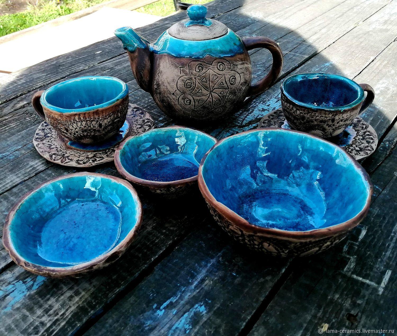 Античный чайный сервиз. Ручная керамика, набор посуды для чая, Сервизы, Москва,  Фото №1
