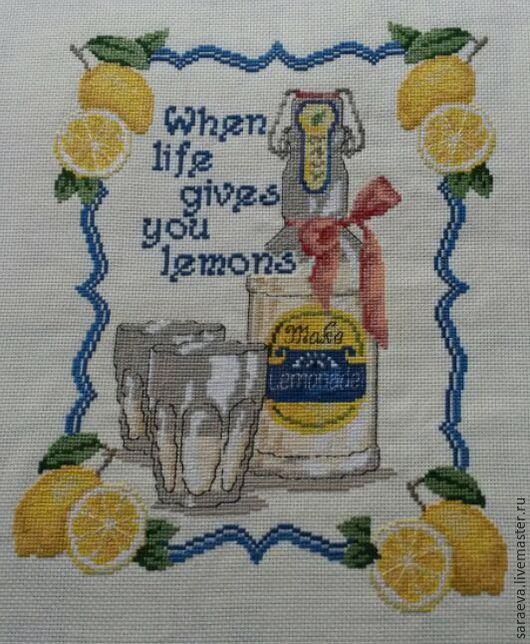 Натюрморт ручной работы. Ярмарка Мастеров - ручная работа. Купить Вышивка  Домашний лимонад. Handmade. Лимонный, Вышивка крестом