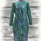 Одежда ручной работы. Ярмарка Мастеров - ручная работа Платье Изумруд валяное на шелке с длинными рукавами. Handmade.