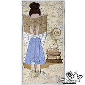 "Картины и панно handmade. Livemaster - original item Panel made of cork ""The Girl with the book"". Handmade."