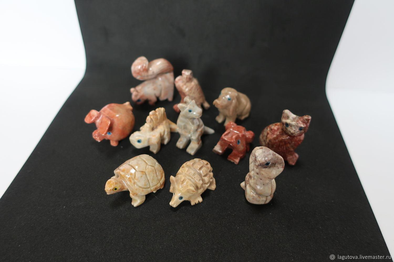 Винтаж: Мини-статуэтки набор из натурального камня-агальматолит 9 ...