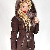 Одежда handmade. Livemaster - original item Sheepskin womens suede hooded lambskin with fur. Handmade.