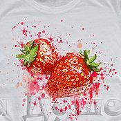Одежда handmade. Livemaster - original item T-shirt  hand painted strawberry. Handmade.