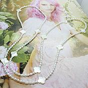 Работы для детей, handmade. Livemaster - original item Long pearl beads with mother of pearl in Van Cleef style Tenderness. Handmade.