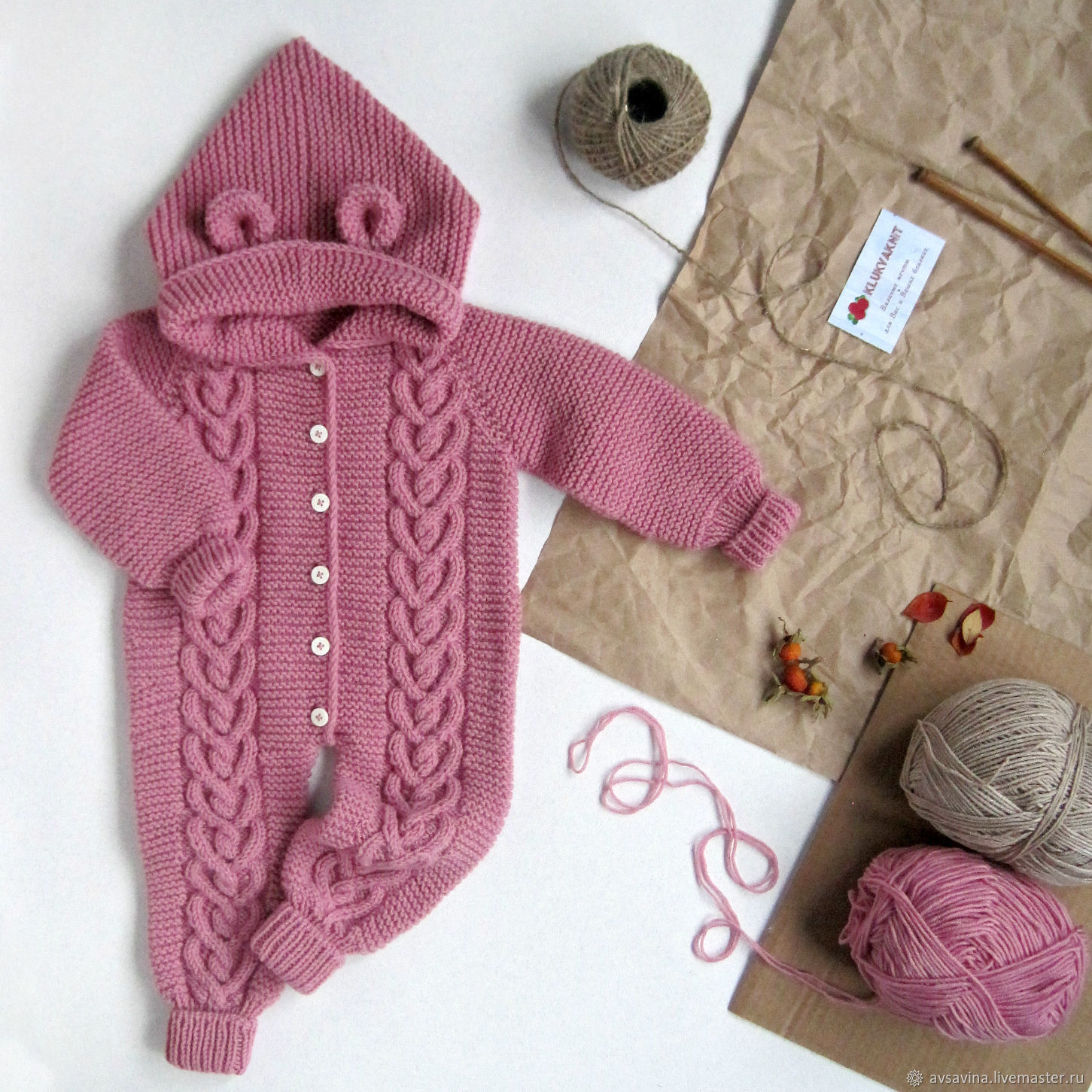 Children's knitted jumpsuit 'Cranberry' pink white, Overall for children, St. Petersburg,  Фото №1