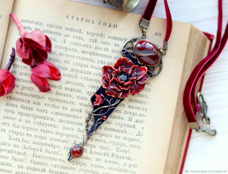 Necklace 'Rubrum mac' miniatures, sculpture, modern, Necklace, Vladimir,  Фото №1