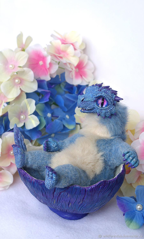 Мягкая игрушка Голубой дракончик в яйце-колыбеле, Мягкие игрушки, Тверь,  Фото №1