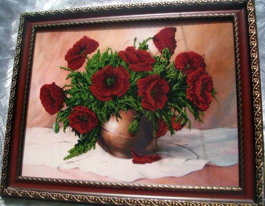 Картины цветов ручной работы. Ярмарка Мастеров - ручная работа. Купить Маки. Handmade. Ярко-красный, прихожая, стекло